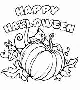 Halloween Happy Print Coloring Pages Signs Colorings Colour Cat Printables sketch template