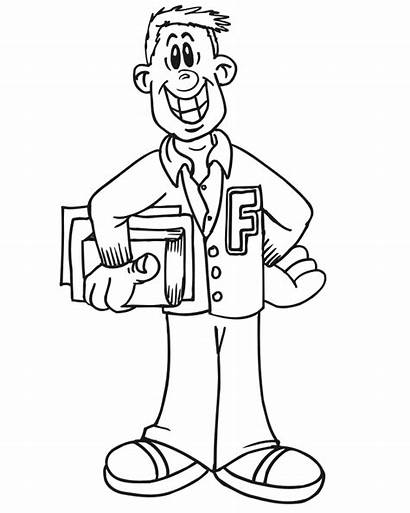 Coloring Student College Pages Cartoon Clipart Person