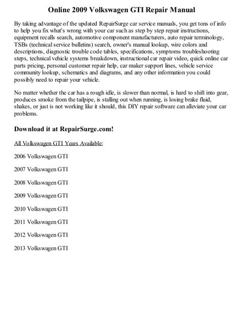 service manuals schematics 2009 volkswagen gti interior lighting 2009 volkswagen gti repair manual online