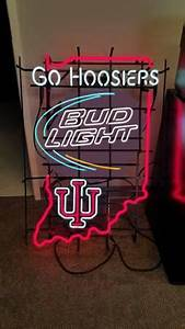 Indiana University go hoosiers bud light neon sign for