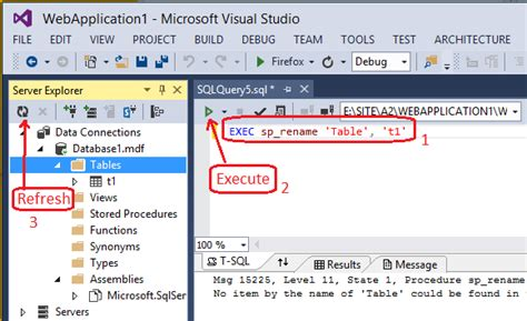 sql change table name c how to change the table name in visual studio 2013 in