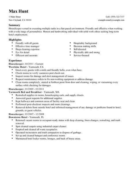 best housekeeper resume exle livecareer