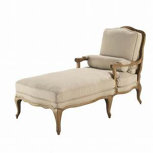 cotton chaise longue in linen colour atelier maisons du With maison du monde chaise