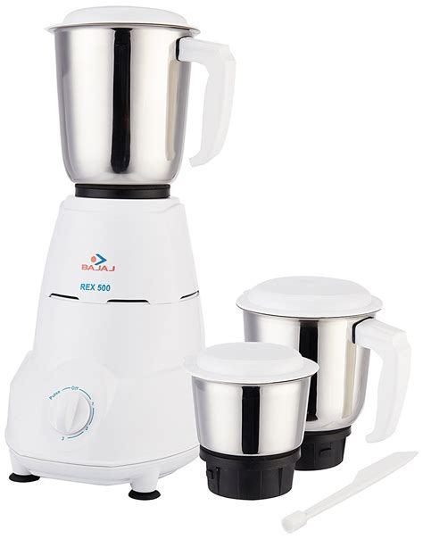 Bajaj Rex 500 Watt Mixer Grinder with 3 Jars (White