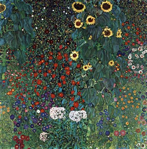 farm garden with sunflowers 1913 by gustav klimt