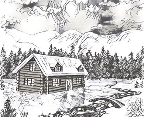 coloriage adulte montagne chalet sous la neige 4
