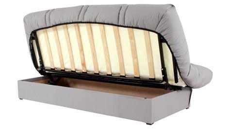 canapé d angle convertible avec coffre clic clac banquette grise avec matelas 130 x 190 cm clic