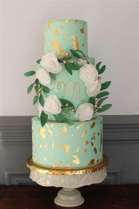 fresh  glam mint  gold wedding ideas weddingomania