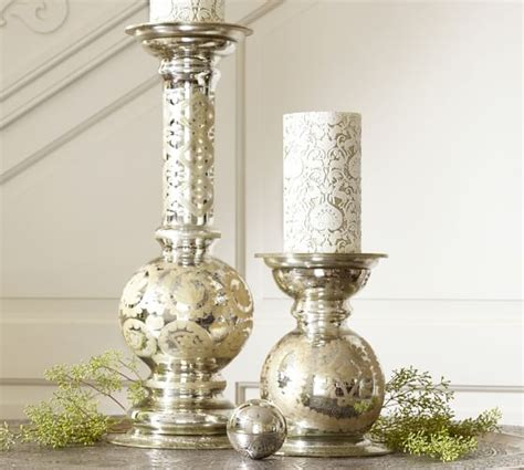 mercury candle holders etched mercury glass pillar holders pottery barn