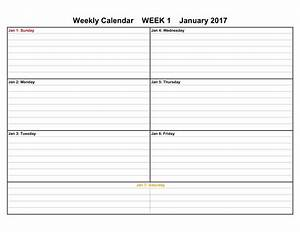 2017 weekly calendar templates for Printable calendar weekly
