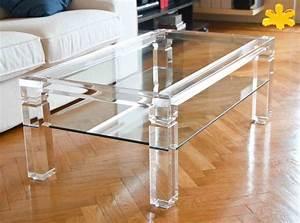 Tavolini da Salotto In Plexiglass Trasparente con Ripiano