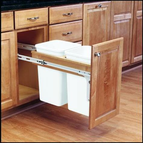 kitchen cabinet trash can pull out shelves that slide wood top mount 27 quart 12 quot wide 9140