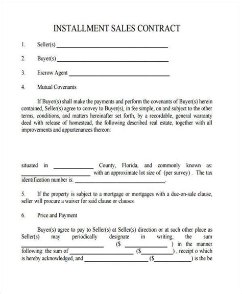 installment sales contract template bing