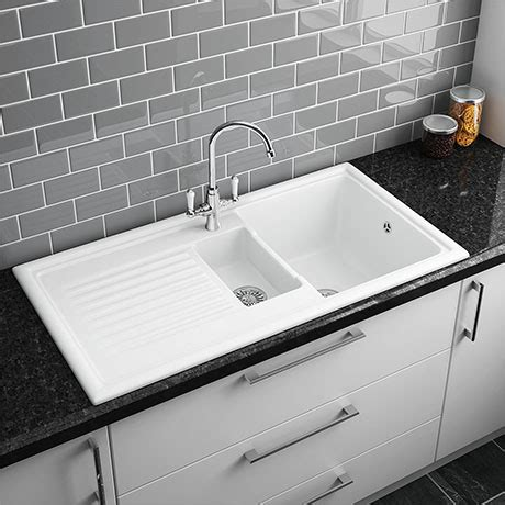 Big White Kitchen Sink by Reginox White Ceramic 1 5 Bowl Kitchen Sink At
