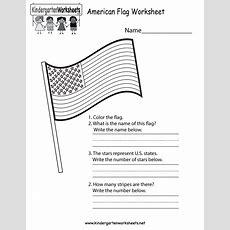 American Flag Worksheet  Free Kindergarten Learning Worksheet For Kids