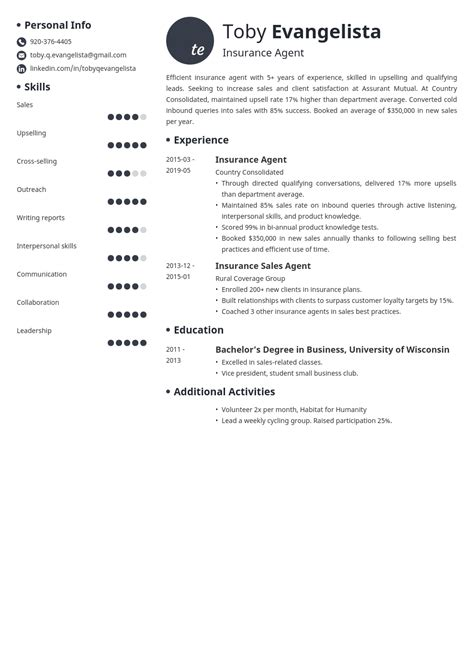 We are looking to hire an experienced insurance broker to expand our client base. insurance agent resume example template initials in 2020 | Resume examples, Resume template, Job ...