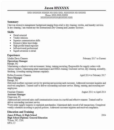 laundry  dry cleaning resume examples textile