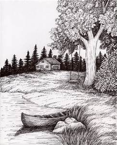 Black Paper Easy Scenery Pencil Drawing Of Natural Scenery ...
