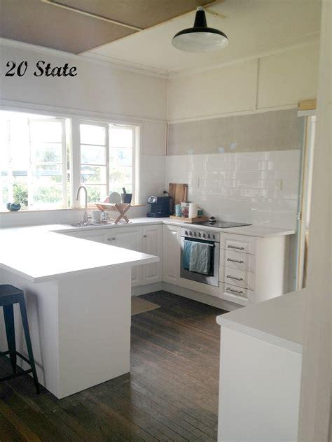 state white flatpack  shaped kitchen  island