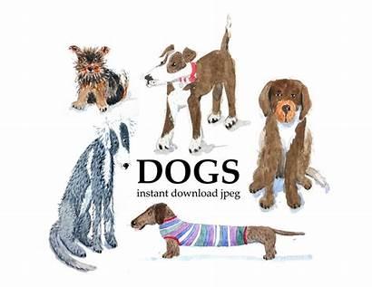Clip Watercolor Dogs Dog Clipart Pet Portrait