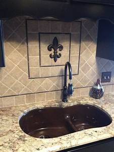 fleur de lis backsplash i got the fdl from hobby lobby With kitchen cabinets lowes with fleur de lis wall art