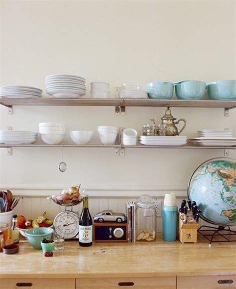 decoracion de cocinas  estantes abiertos