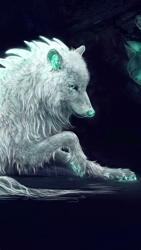 wallpaper white wolf arctic wolf fantasy digital art