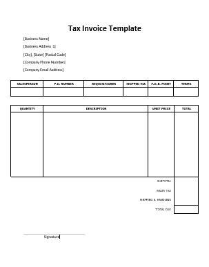 tax invoice sample  word templates