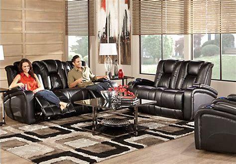 kingvale black  pc living room  power reclining sofa