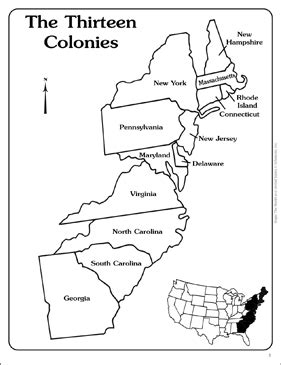 Maps Of The Thirteen Colonies (blank And Labeled)  Printable Maps And Skills Sheets