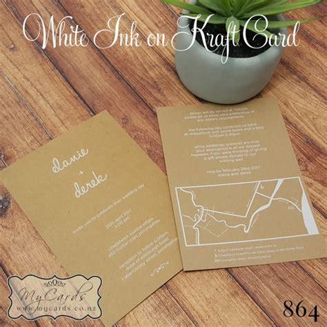 rustic wedding invitations kraft card white ink design
