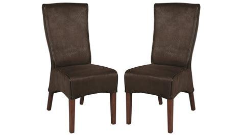 chaises de bureau pas cher lot de 2 chaises de salle à manger microfibre marron