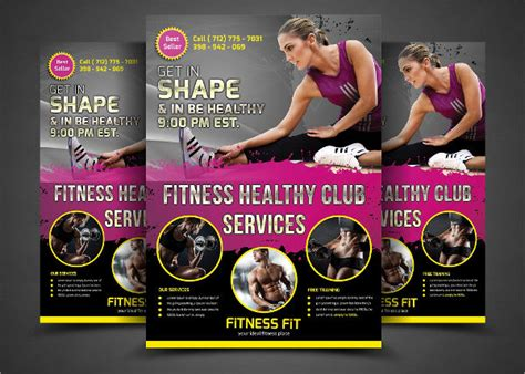 gym fitness flyers word psd ai eps vector