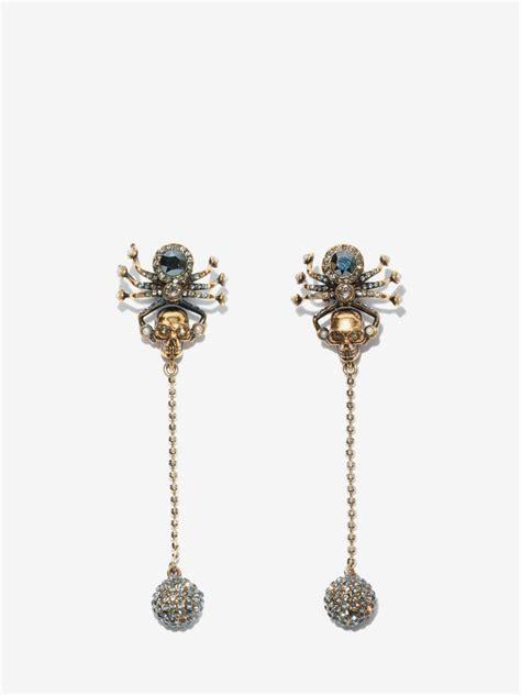 spider skull earrings alexander mcqueen