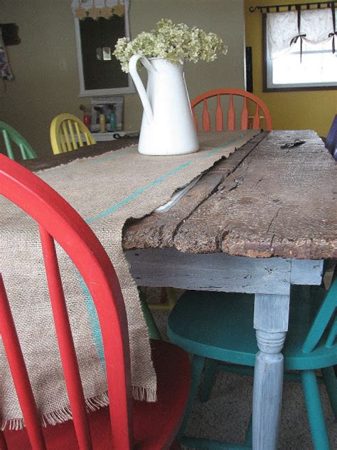 painting kitchen table and chairs different colors old barn door recycled into kitchen table remodelaholic