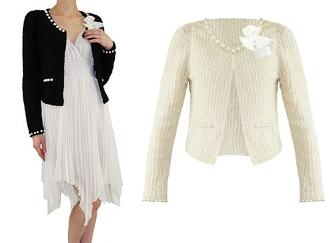 Soma London Ladies New Beige Boucle Pearl Retro 50s 60s Cardigan Jacket Cardi