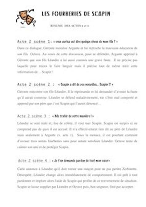 Andromaque Resume Par Acte by R 233 Sum 233 Des Actes 2 Et 3 Les Fourberies De Scapin David Dumoulin Fiches De Lecture