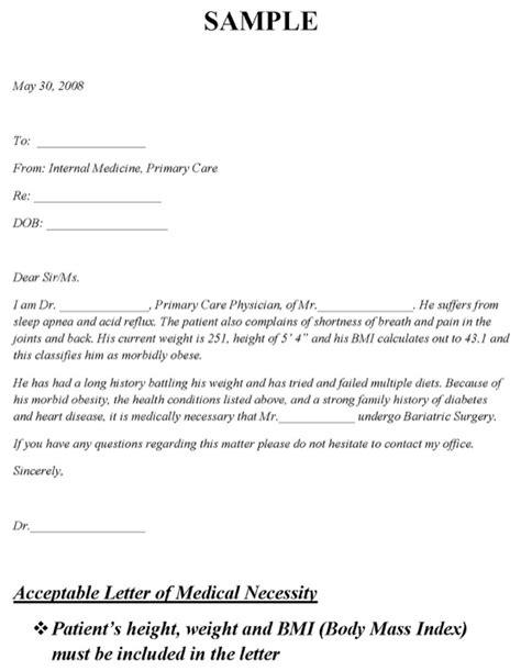 sample letter  medical necessity
