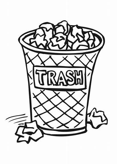 Trash Garbage Coloring Bin Drawing Draw Pages