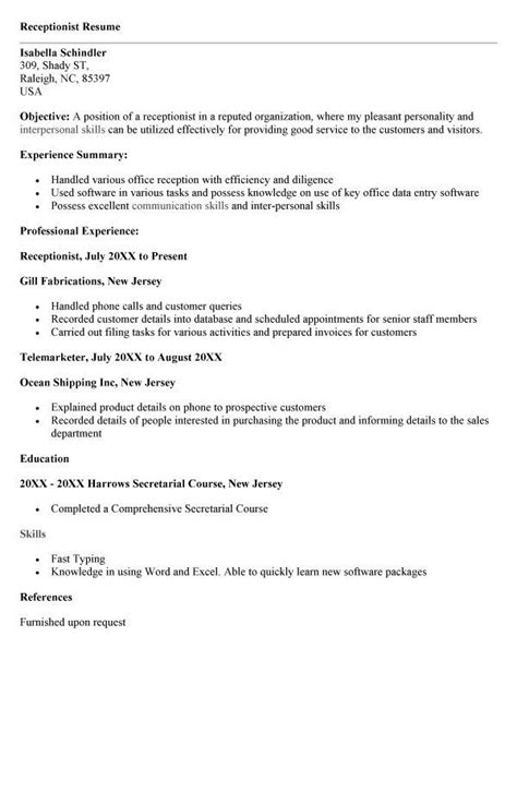 Cv Resume Sle by Veterinary Receptionist Resume Sle Resume Template 2018