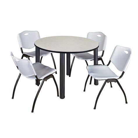 kee 48 quot breakroom table maple black 4 m stack