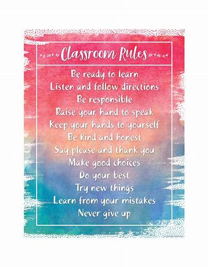 Rules Classroom Chart Watercolor Learning Young Learn