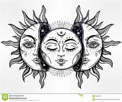 Moon Sun Vector Illustration Faces Half Hand