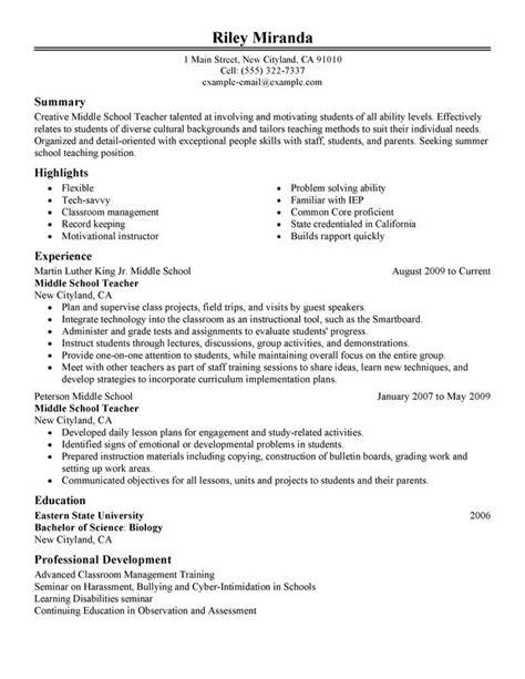summer teacher resume examples created  pros