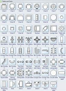 Tables and chairs symbols for floor plan interior design for Interior design kitchen symbols