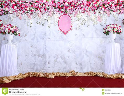Pink And White Backdrop Flowers Arrangement Ready For