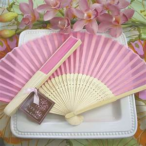 pink silk hand fans beach theme wedding favors wedding With fans for wedding favors