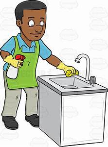 A Black Man Polishing The Kitchen Sink Cartoon Clipart ...