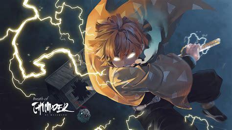 wallpaper kimetsu  yaiba zenitsu agatsuma anime