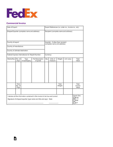 fedex commercial invoice template  eforms